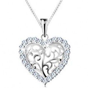 Šperky eshop - Náhrdelník zo striebra 925, srdiečko z ornamentov s čírym zirkónovým lemom AC20.28