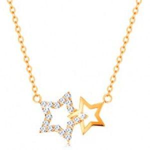 Šperky eshop - Náhrdelník zo žltého 14K zlata - dve kontúry hviezdičiek, jemná retiazka GG138.24