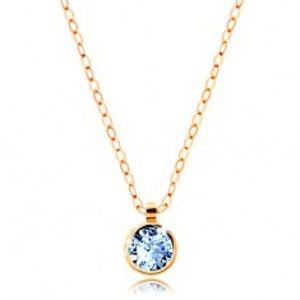 Šperky eshop - Náhrdelník zo žltého 14K zlata - ligotavá retiazka, akvamarínovo modrý zirkón GG208.08