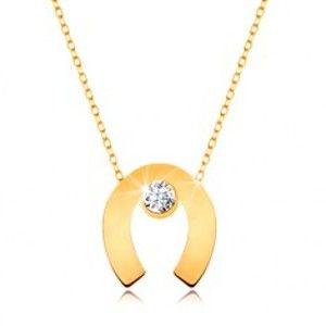 Šperky eshop - Náhrdelník zo žltého 9K zlata - podkova pre šťastie, číry zirkón, tenká retiazka GG194.23