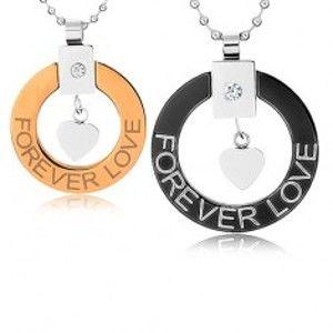 """Šperky eshop - Náhrdelníky pre dvoch z chirurgickej ocele, obrys kruhu, srdiečko, """"Forever love"""" U21.3"""