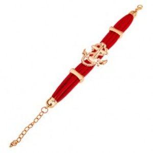 Šperky eshop - Náramok, červené mäkké pásiky, motív kotvy a lana v zlatom odtieni O16.5
