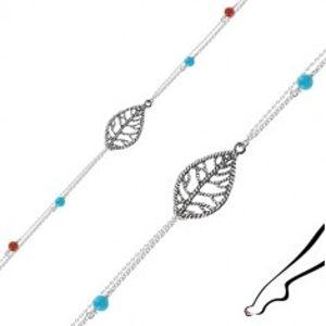 Šperky eshop - Náramok na členok zo striebra 925 - list, dvojitá retiazka, modré a červené guľôčky R01.07