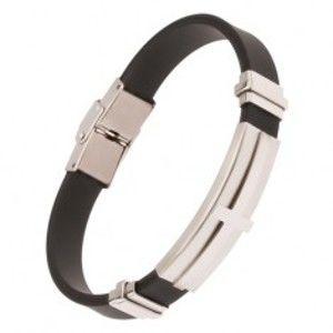 Šperky eshop - Náramok na ruku, čierny gumený pás, oceľová známka s krížom Y02.13
