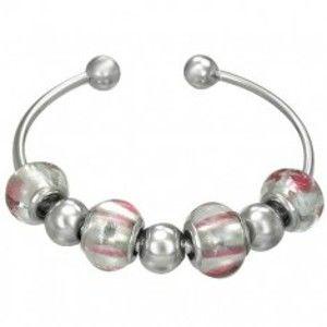 Šperky eshop - Náramok na ruku z chirurgickej ocele, sklenené a oceľové korálky P12.8