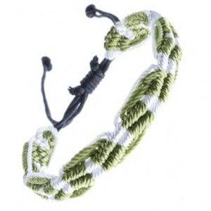 Šperky eshop - Náramok na ruku zo šnúrok - zeleno-biely, vlnitý, pruhovaný Z13.11
