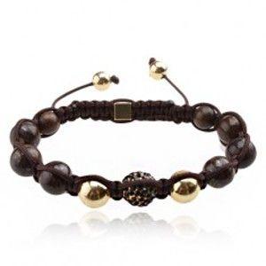 Šperky eshop - Náramok Shamballa - hnedé mramorové korálky, čierna zirkónová guľôčka Q19.1