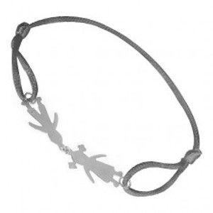 Šperky eshop - Náramok so striebornými príveskami 925 - dievčatko a chlapček, sivá šnúrka T21.3
