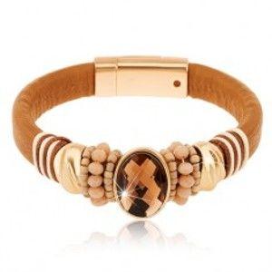 Šperky eshop - Náramok v svetlohnedom odtieni, brúsený ovál, ozdobné korálky, šnúrky Z20.04