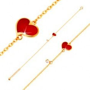 Šperky eshop - Náramok v žltom 14K zlate - červené asymetrické srdce a číry zirkónik, tenká retiazka GG136.17