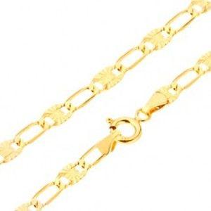 Šperky eshop - Náramok v žltom 14K zlate - dlhšie tenké očká, lúčovité zárezy, 195 mm GG24.28