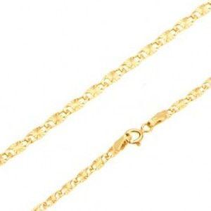 Šperky eshop - Náramok v žltom 14K zlate - ploché podlhovasté články, lúčovité ryhy, 180 mm GG169.13