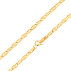 Šperky eshop - Náramok v žltom 14K zlate, hladký a lúčovitý článok, 190 mm GG169.25