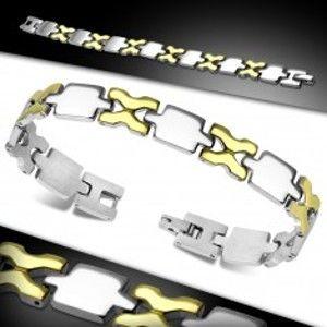 Šperky eshop - Náramok z chirurgickej ocele, lesklé dieliky zlatej a striebornej farby AA28.19
