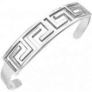 Šperky eshop - Náramok z chirurgickej ocele polkruh so vzorom gréckeho kľúča P11.9