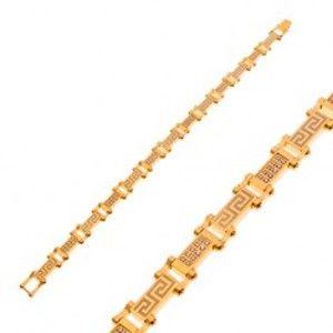 Šperky eshop - Náramok z chirurgickej ocele zlatej farby s gréckym kľúčom a zirkónmi AA46.24