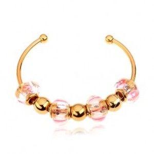 Šperky eshop - Náramok z chirurgickej ocele zlatej farby, sklenené a oceľové korálky AA35.21