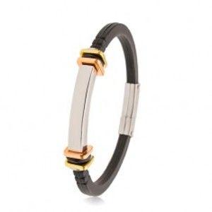 Šperky eshop - Náramok z čiernej gumy, hladká oceľová známka, štvorce zlatej a medenej farby AB34.14