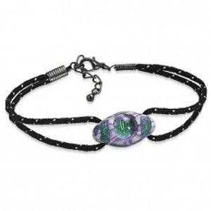 Šperky eshop - Náramok z čiernych šnúrok a oválnej FIMO korálky, fialovo-zelené kvety AA22.03/AA37.06 - Dĺžka: 210 mm