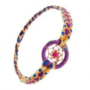 Šperky eshop - Náramok z farebných nití, ružová korálka v kruhu s pavučinkou SP52.19