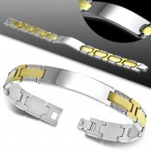 Šperky eshop - Náramok z ocele 316L, lesklá hladká známka, dvojfarebné články, cik-cak vzor AA28.29