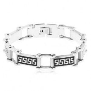 Šperky eshop - Náramok z ocele 316L, obdĺžnikové články s čiernou glazúrou, grécky kľúč Y19.16