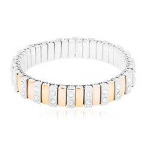 Šperky eshop - Náramok z ocele 316L, úzke články zlatej, medenej a striebornej farby, číre zirkóny Y22.13