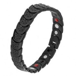 Šperky eshop - Náramok z ocele čiernej farby, polkruhy s jamkami, farebné magnety SP25.23
