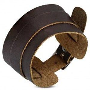 Šperky eshop - Náramok z pravej kože - širší a užší tmavohnedý pás, zapínanie na pracku SP19.27