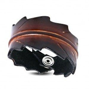 Šperky eshop - Náramok z umelej kože - ozdobne vyrezávaný list v hnedom farebnom odtieni SP92.05