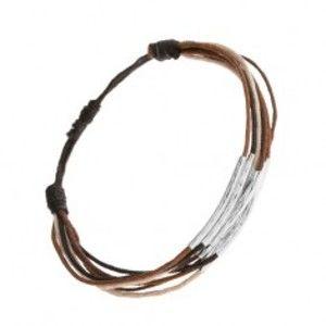 Šperky eshop - Náramok zo šnúrok čiernej, hnedej, škoricovej a béžovej farby, pásiky z ocele Q20.17