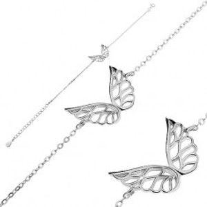 Šperky eshop - Náramok zo striebra 925 - vyrezávané anjelské krídla, retiazka z oválnych očiek G23.26