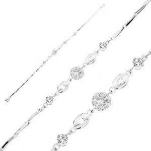 Šperky eshop - Náramok zo striebra 925, číry zirkónový kvet, lesklé ovály so srdiečkami AB11.11