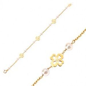 2a183a6ae Šperky eshop - Náramok zo žltého 14K zlata - biele guľaté perličky a  štvorlístky pre šťastie