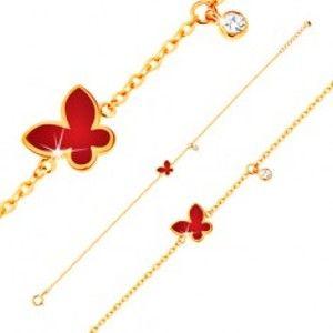 Šperky eshop - Náramok zo žltého 14K zlata - červený glazúrovaný motýľ a číry okrúhly zirkónik GG136.20