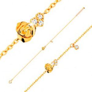 Šperky eshop - Náramok zo žltého 14K zlata - ružička a číre zirkónové srdce, 185 mm GG137.28