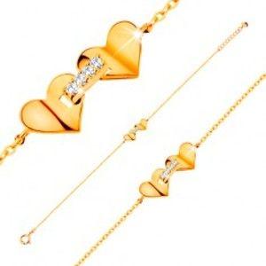 Šperky eshop - Náramok zo žltého 14K zlata - srdiečka spojené pásom zirkónov, tenká retiazka GG137.33