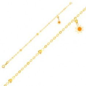 Šperky eshop - Náramok zo žltého 9K zlata - retiazka, glazúrovaný kvietok, ligotavé guľôčky GG01.62