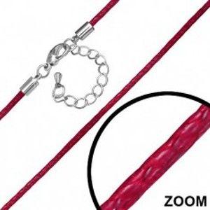 Šperky eshop - Nastaviteľná červená nylonová šnúrka s karabínkou AA10.23