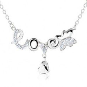 """Šperky eshop - Nastaviteľný náhrdelník, nápis """"love"""", motýlik, visiace srdiečko, striebro 925 SP60.07"""