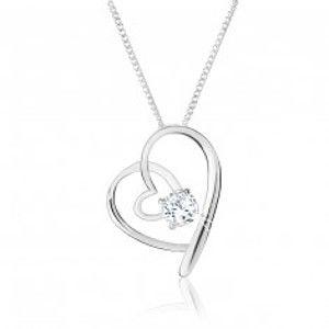 Šperky eshop - Nastaviteľný náhrdelník zo striebra 925, prelínajúce sa obrysy sŕdc, číry zirkón SP55.03
