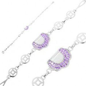 Šperky eshop - Nastaviteľný náramok - striebro 925, slzičkové články, kabelka s fialovými zirkónmi AC20.29