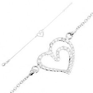 Šperky eshop - Nastaviteľný náramok, striebro 925, kontúra srdca - lesklé gravírované guličky SP91.30