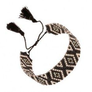 Šperky eshop - Nastaviteľný náramok z korálok, kosoštvorcový vzor, čierna a strieborná farba SP89.07