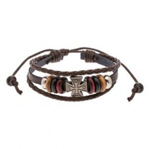Šperky eshop - Nastaviteľný náramok z pásov umelej kože, korálky, maltézsky kríž Y45.09