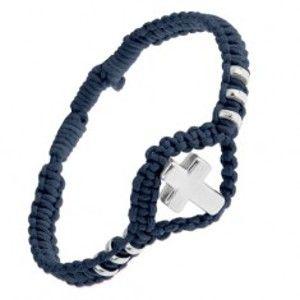 Šperky eshop - Nastaviteľný pletený náramok tmavomodrej farby, lesklý oceľový kríž a kolieska SP53.22