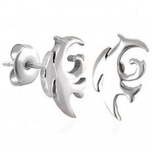Šperky eshop - Náušnice, chirurgická oceľ, tribal motív, strieborný odtieň, puzetky SP92.23