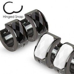 Šperky eshop - Náušnice čiernej farby s podlhovastým brúseným kamienkom G19.29/30 - Farba: Biela