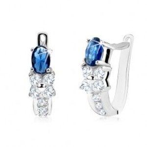 Šperky eshop - Náušnice s oválnym modrým kameňom, číry zirkónový kvet, striebro 925 SP11.11