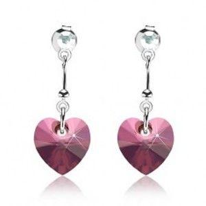 Šperky eshop - Náušnice, striebro 925, srdce - Swarovski krištáľ fialovej farby, okrúhly krištálik I30.15